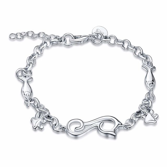 Fashion Jewelry Pulseiras Femininas Bracelets For Women 925 stamped silver plated Cute Animal Cat eat fish Charm Bracelet