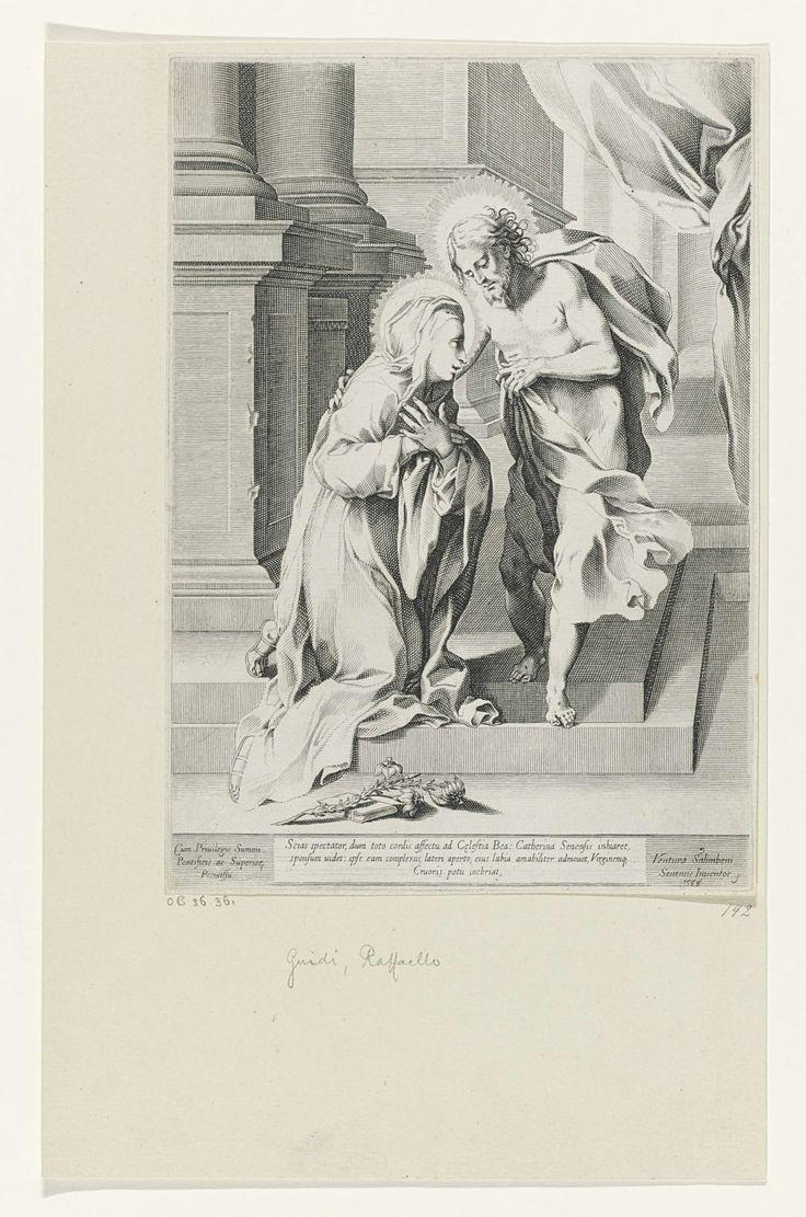 Raffaello Guidi   Christus en de heilige Catharina van Siena, Raffaello Guidi, Sixtus V, 1588   De heilige Catharina van Siena knielt voor Christus. Christus legt een hand op haar schouder. Op de voorgrond liggen een lelietak en een boek.