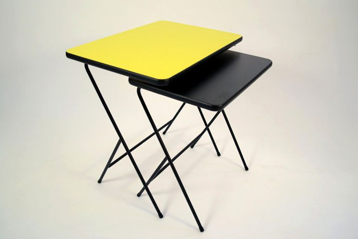 2 mid century modern style side tables made of black steel and Formica   #steel#formica#table