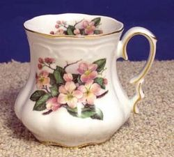 Peach motif Victorian Mugs - Set of 2  Gold trim and Swarovsky crystal accent