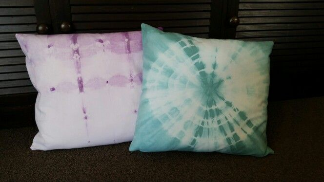 Tie dyed cushion covers.