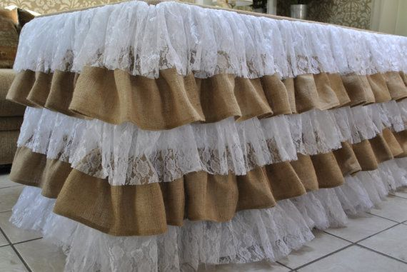 Lace Burlap Ruffle Tablecloth by PaulaAndErika on Etsy, $320.00