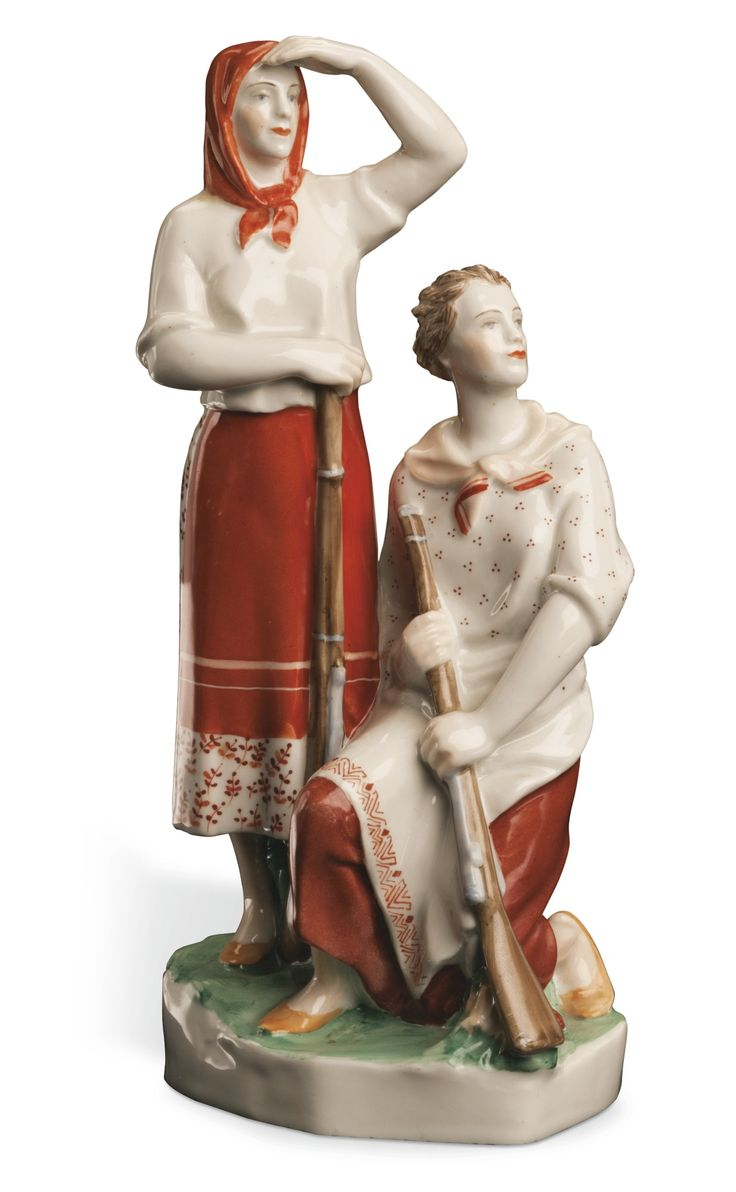 Collective Farm Women, or Voroshilov's Markswomen, Lomonosov State Porcelain Manufactory, Leningrad, 1938-1941