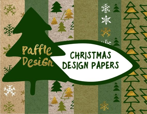 Christmas Digital Paper Design Christmas papers Snowflakes paper Gold Christmas paper Hand drawn snowflakes Digital paper pack by Paffle Design