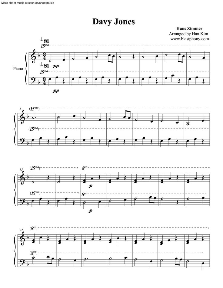 pirates of the caribbean piano sheet music easy pdf