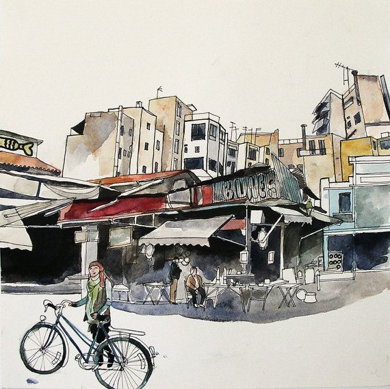 Flea market cycling. Original watercolour & by PhaedraCrespiShop