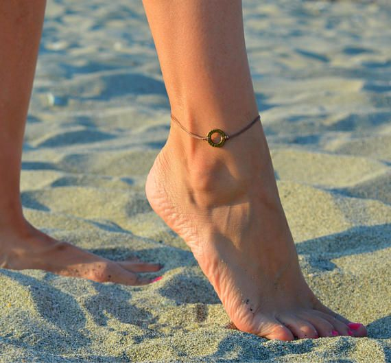 believe circle bronze anklet, brown anklet, ankle bracelet beach anklets minimalist anklet minimal foot jewelry beach jewelry nautical gift