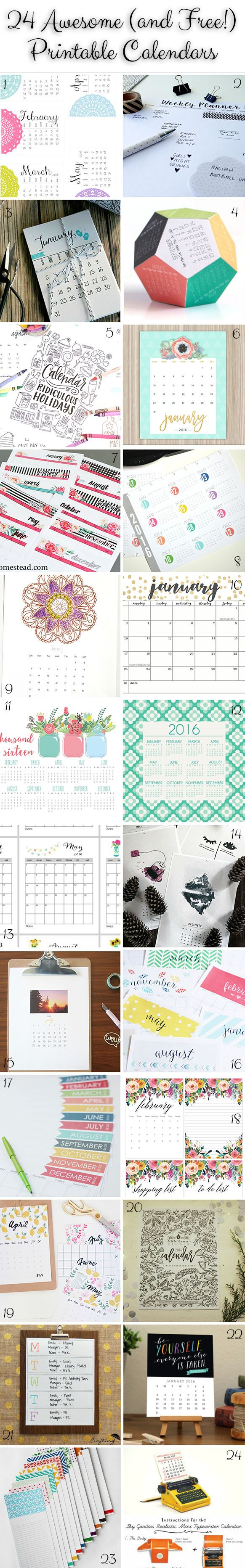 Scrapbook ideas calendar pages - Weekend Pinspiration Pretty Printable Calendars