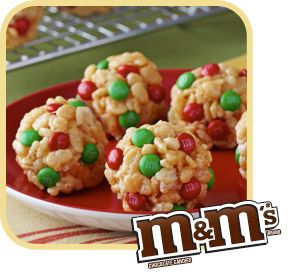 Jingle Bell Balls - Rice Krispies, M, and Peanut Butter. Great for a Christmas Party!