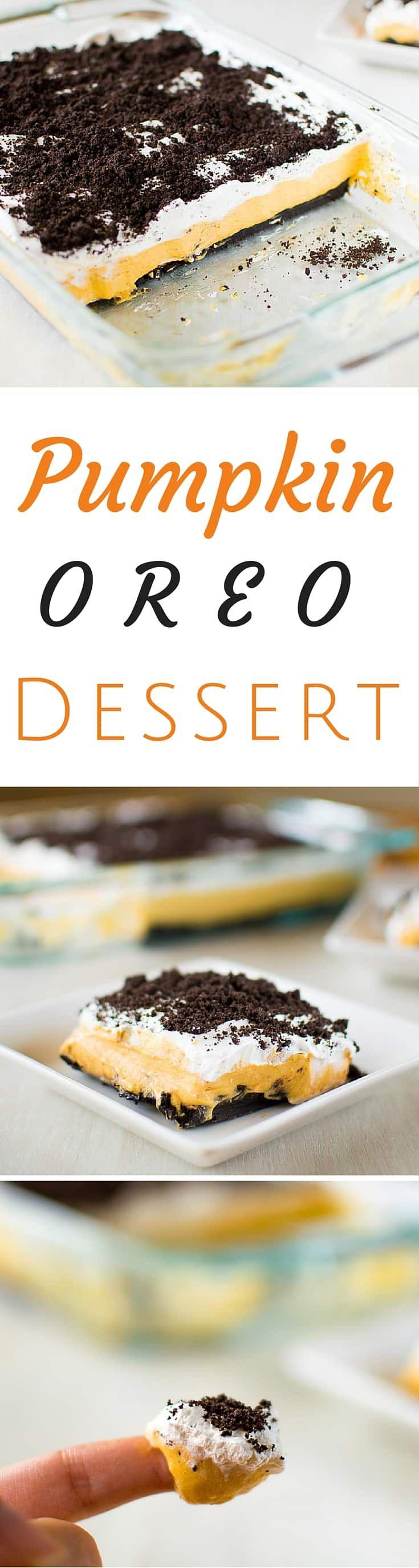 Pumpkin Oreo Delight: aka No-bake Layered Pudding Dessert Lasagna | Kitchen Gidget