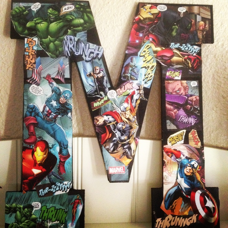 Super hero initial great for a boys room hmmm time to break out the mod podge!!