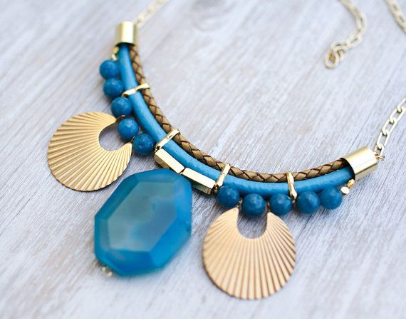 JeansLover Statement Blue bold Agate Necklace by Pardes by pardes, $135.00