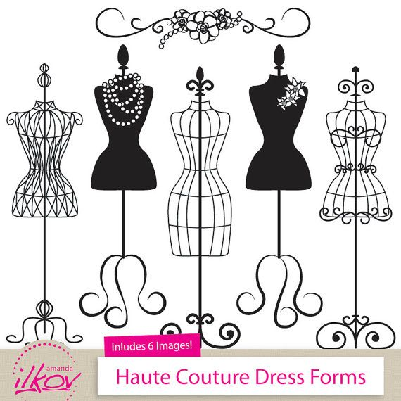 Professional Fashion Clip Art, Dress Forms Clip Art for Digital Scrapbooks, Crafts, Invitations, Web Use and More - Mannequin, Bridal Shower
