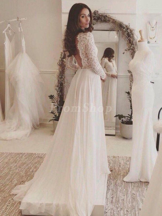 7c2aca94e8 Captivating A-line Long Sleeves Sweep Train Appliques Lace Wedding Dresses  - Hot Sale Wedding Dresses - Promshopau.com