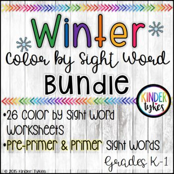 26 Winter themed Color by Sight Word Worksheets. This bundle includes 13 Primer Sight Word worksheets and 13 Pre-Primer Sight Word Worksheets. These printables are great for early morning work during the holiday season. What a fun way to reinforce sight word learning!