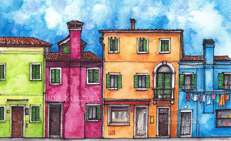 Burano, Italy Ink & watercolor pencils illustration