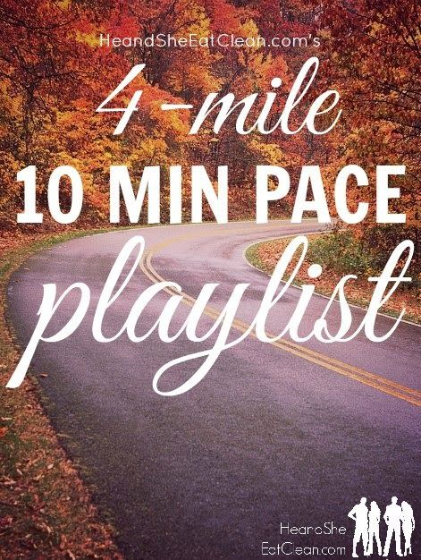 This playlist is optimized for runners who run a 10-minute mile, looking to run 4 miles. It includes a warm-up and cooldown song as well.