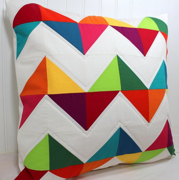"18"" x 18"" Throw pillow.  Not usually a Chevron fan, but I think the rainbow aspect of this one is what makes it tolerable."