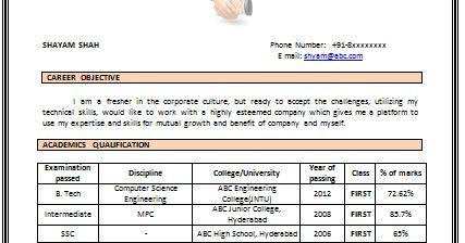 CV Format for Computer Engineer