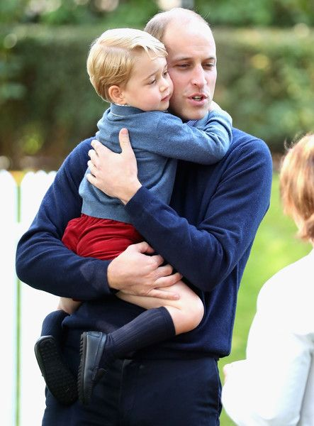 Prince George of Cambridge with Prince William, Duke of Cambridge at a children's party for Military families during the Royal Tour of Canada on September 29, 2016 in Victoria, Canada.