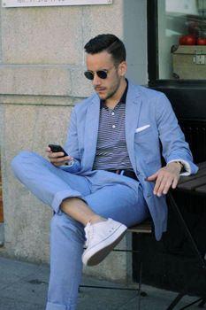2018 Latest Coat Pant Designs Light Blue Casual Men Suits Summer