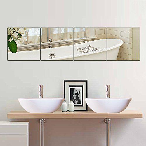 Beauty4u Square Mirrors 12 Inch 4pcs Flexible Wall Mirror Set Hd