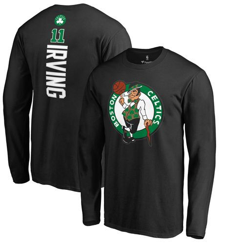 Men's Boston Celtics Kyrie Irving Fanatics Branded Black Backer Name & Number Long Sleeve T-Shirt