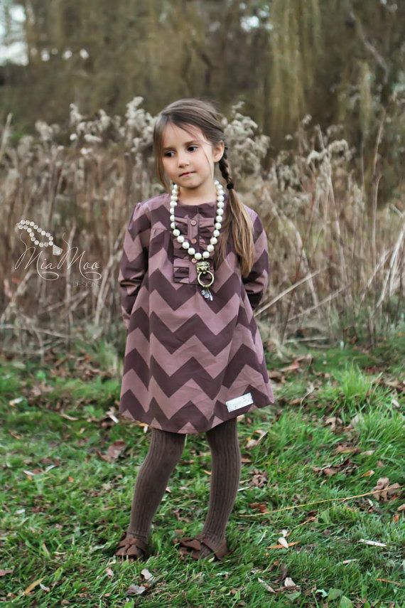 Girls Clothing... Girls Dress... Brown Chevron Dress... Fall ...