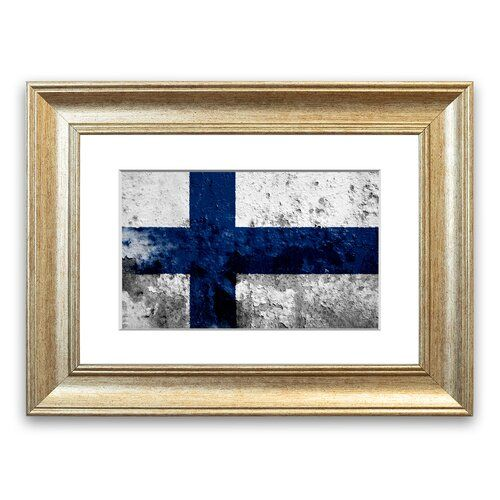 'Finland Flag' Framed Graphic Art East Urban Home Size: 40 cm H x 50 cm W, Frame Options: Silver