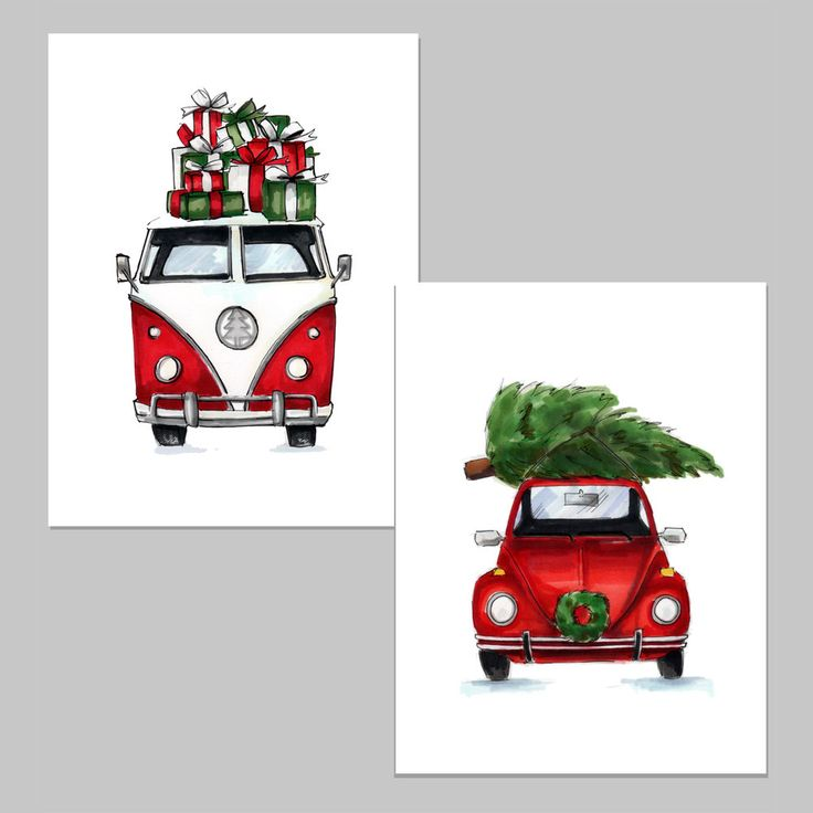 Vintage Car Christmas Cards