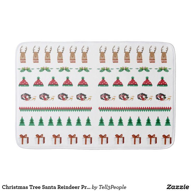 Christmas Tree Santa Reindeer Presents Red Green Bath Mat