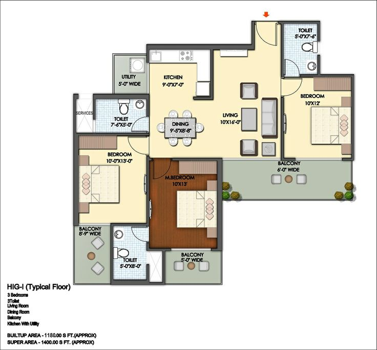 Floor Plan- 1400 sqft: 3 Bhk+ 3 bath+ 3 Balconies.