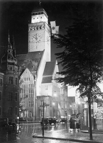 Germany IIIReich Berlin Neukölln views The town hall of city district Neukölln in the Berliner Strasse flag decorated about 1935