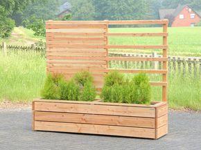 Pflanzkasten Holz mit Rankgitter / Spalier / Sichtschutz, Länge: 212 cm, Oberfläche: Transparent Geölt Natur