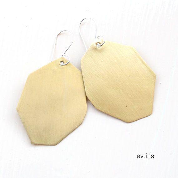 Brass Polygon Sterling Ear Hooks by EVIsMetalworkJewelry on Etsy, €23.00