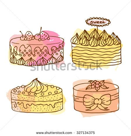 Vector cake illustration. Set of 4 hand drawn cakes with colorful watercolor splashes. Wedding cakes with cream and berries. Celebration cake design.