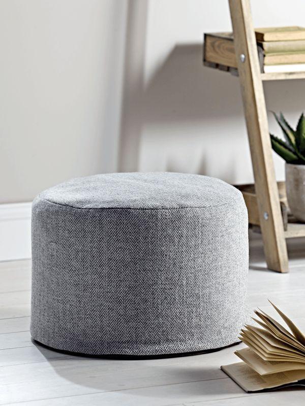 Herringbone Wool Pouf - Grey