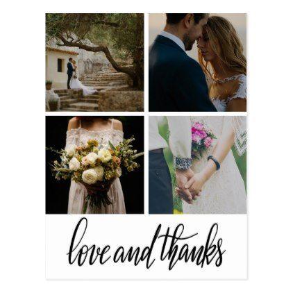 #Rustic Bohemian Wedding Love & Thanks Script Photo Postcard - #wedding gifts #marriage love couples