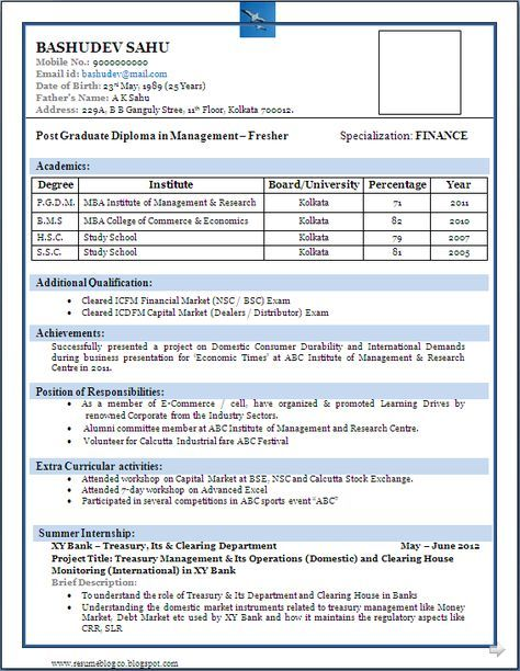 13 best niveresume images on Pinterest Best resume format - resume format for freshers bca