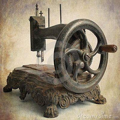 Isolated brown antique sewing machine