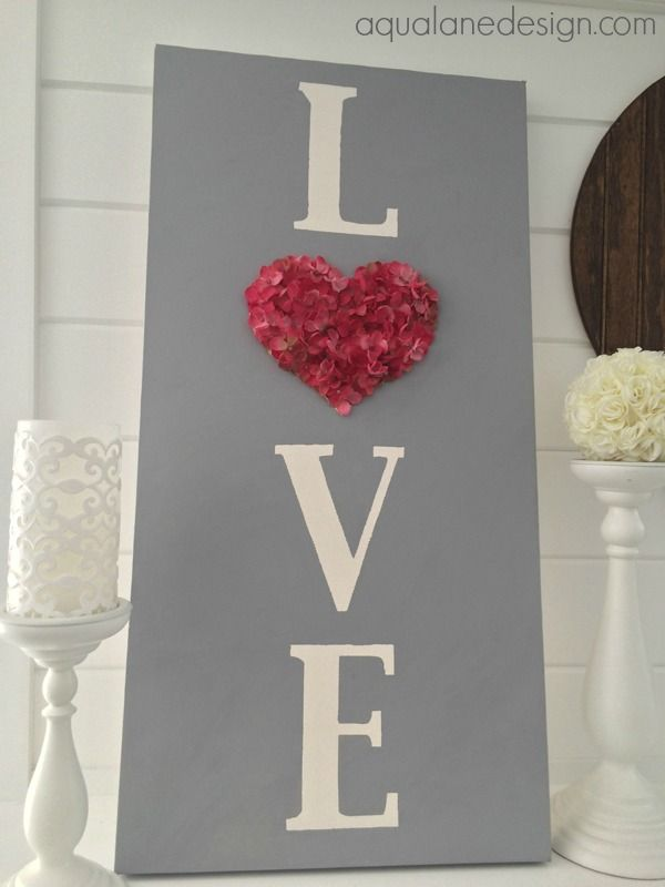 Easy to make LOVE sign for Valentine's Day! aqualanedesign.com #aqualanedesign