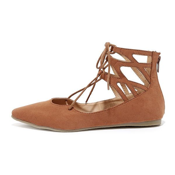 Ballet Barre Cognac Suede Lace-Up Flats ($28) ❤ liked on Polyvore featuring shoes, flats, brown, suede flats, pointed toe flats, flat shoes, ballet flat shoes and pointy toe flats