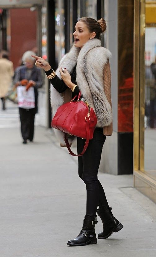 Olivia Palermo wearing Report Jude Moto Boot Louis Vuitton Sofia Coppola Satchel bag