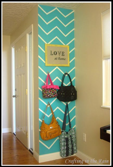 wall idea: Valspar Turqoise Tint, chevron stripes added with white electrical tape. Don't know if I want stripes but it's an interesting idea.