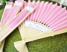 Light Pink Paper Fans Outdoor Wedding Favors