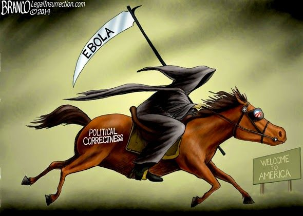 Ebola in America brought to you by Political Correctness with Obama blinders on. Political cartoon by A.F.Branco