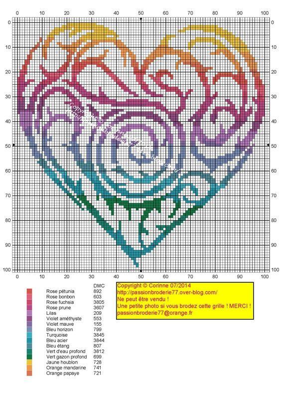 Cross-stitch Heart...   Cœur Arc-en-ciel