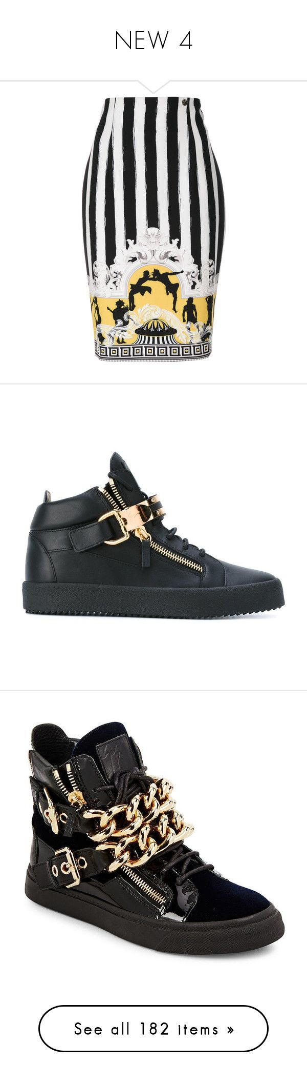 """NEW 4"" by ruffin777 ❤ liked on Polyvore featuring skirts, versace skirt, baroque skirt, versace, men's fashion, men's shoes, men's sneakers, black, giuseppe zanotti mens shoes and mens high top sneakers"