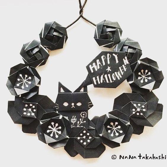 ブラックハロウィン Black Halloween #origami #walldecor #papercraft #paperflower #wreath #miniwreath #garland #cat #kitty #halloween #blackhalloween #nanatakahashi #おりがみ #折り紙 #ペーパークラフト #ペーパーフラワー #リース #ガーランド #ねこ #壁飾り #ブラック #ハロウィン #たかはしなな