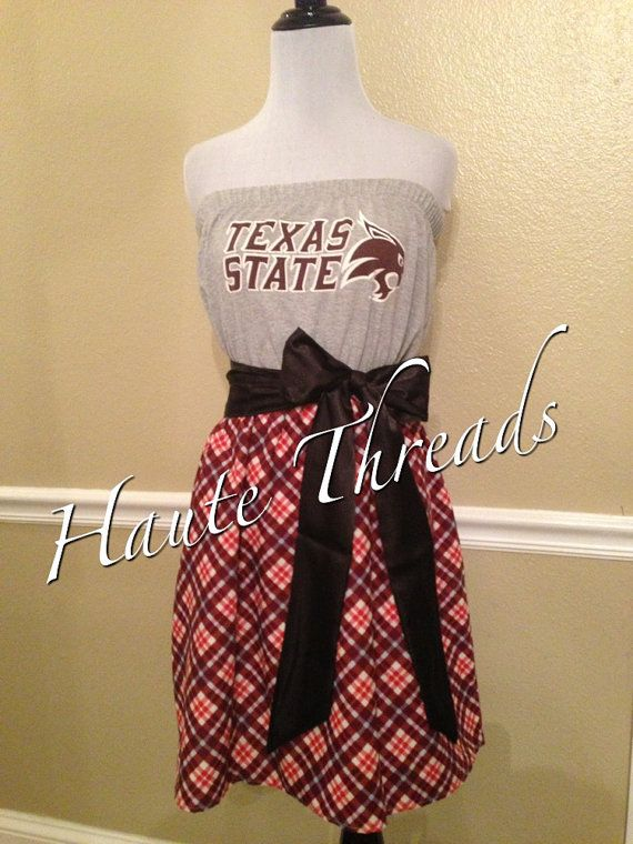 Texas State Bobcats TSU College Gameday Dress by hautethreadsboutique, $70.00